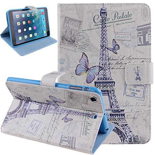 ikasus(TM) iPad Mini Case,iPad Mini 3 Case,iPad Mini 2 Case,iPad Mini 2 Retina Case,Stand Case for iPad Mini,Flip Case for iPad Mini,Luxury Fashion Retro Butterfly Pairs Eiffel Tower Design Pu Leather Flip Protective Case Cover with Stand for Apple Ipad Mini / Ipad Mini 2 / Ipad Mini with Retina Display/ iPad Mini 3 (2014 Release)(Butterfly Tower)