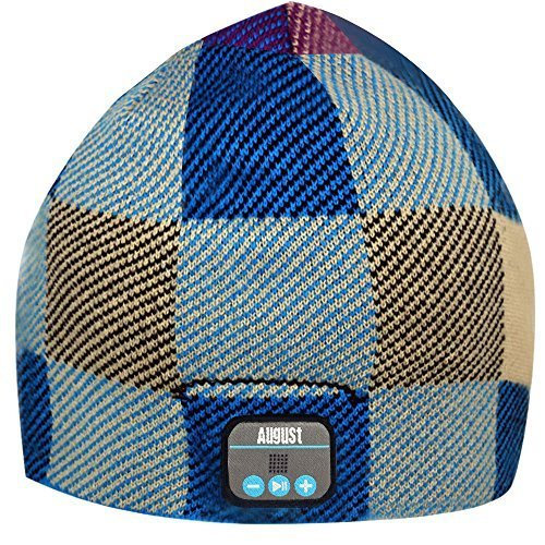 August EPA20 - Bluetooth Cap - Winter Beanie Hat with Bluetooth Stereo Headphones, Microphone, Hands Free System and Rechargeable battery - Compatible with Mobile Phones, iPhone, iPad, Laptops, Tablets, Smartphones (Check)