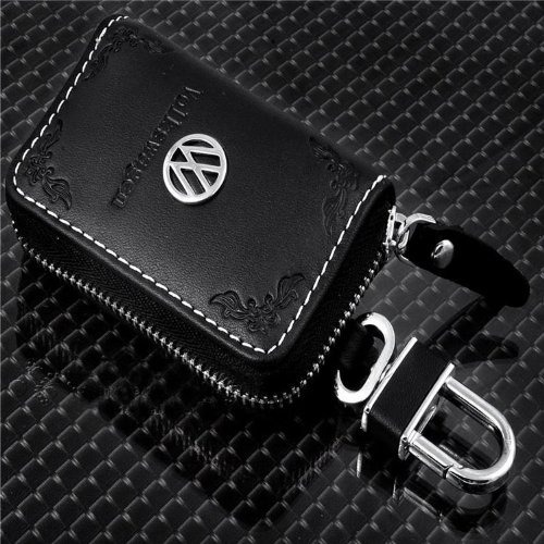 1 X Black Embossed Genuine Leather VW LOGO Auto Key Case Bag KeyChain