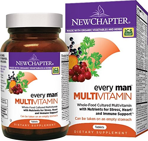 New Chapter Every Man, Men's Multivitamin Fermented with Probiotics + Selenium + B Vitamins + Vitamin D3 + Organic Non-GMO Ingredients - 24 ct