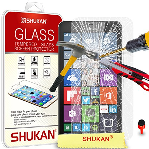 Microsoft Lumia 640 XL Tempered Glass Crystal Clear LCD Screen Protector Guard & Polishing Cloth + RED 2 IN 1 Dust Stopper SVL2 BY SHUKAN®, (TEMPERED GLASS)