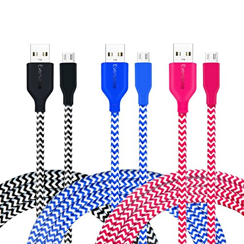 3Ft Nylon Braided Micro USB Cable, Eversame [3-Pack] 1M Premium USB2.0 A Male to Micro B Charger Cord For Android, Samsung Galaxy S6 Edge Plus/Note5, HTC One X, LG V10/G3, and more