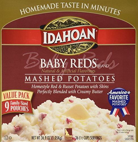 IDAHOAN BABY REDS Gluten Free Instant Mashed Potatoes (9 FAMILY-SIZED Pouches Box Net Wt 36.9 OZ):