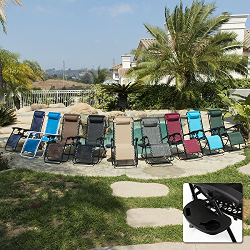 ARKSEN© 2-Pack Zero Gravity Patio Lounge Chairs+Cup Holder Utility Tray