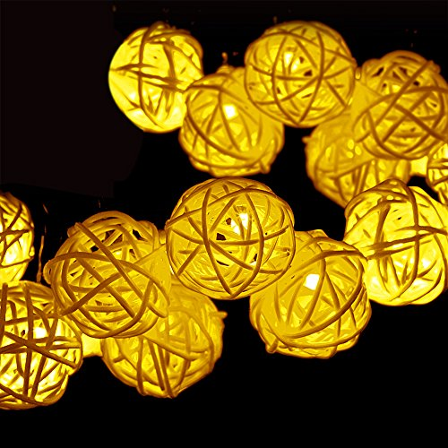 Solar String Lights, GDEALER 30LED 20ft Solar Powered Starry Fairy Outdoor Rattan String Lights Ambiance Lighting for Landscape Patio Garden Bedroom Camping Christmas Party Wedding Warm White (1)