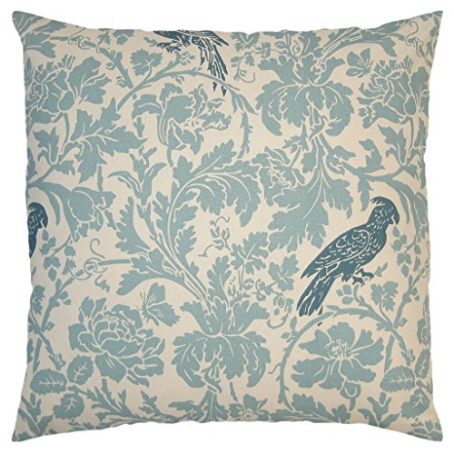 JinStyles Cotton Canvas Floral Parrot Accent Decorative Throw / Toss Pillow Cover (Carolina Blue & Ivory, Square, 1 Cushion Sham for 26 x 26 Inserts)