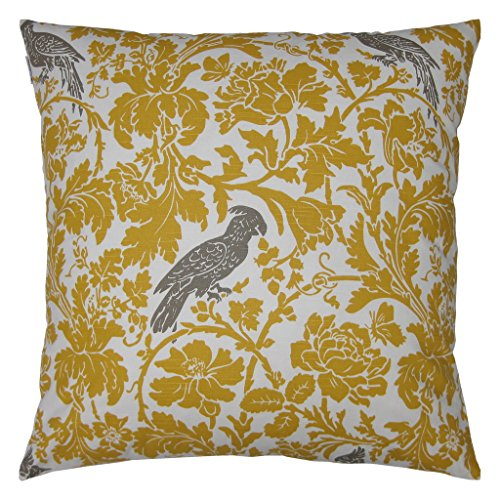 JinStyles Cotton Canvas Parrot Accent Decorative Throw Pillow Cover (Yellow & White, Square, 1 Cushion Sham for 26 x 26 Inserts)