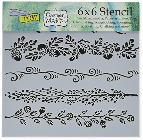 CRAFTERS WORKSHOP Crafters Workshop TCW615S Template, 6 x 6, Fanciful Borders, White