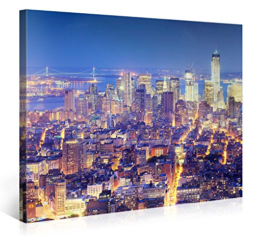 Large Canvas Print Wall Art - ILLUMINATED MANHATTAN - 40x30 Inch New York Cityscape Canvas Picture Stretched On A Wooden Frame - Giclee Canvas Printing - Hanging Wall Deco Picture / e4804