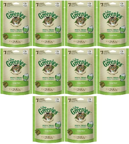 Feline GREENIES Dental Treats Catnip Flavor 1.56Lbs (10 x 2.5oz)