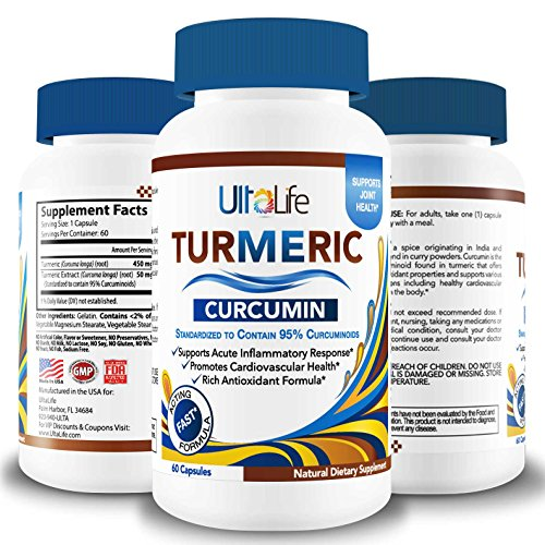 #1 Best TURMERIC Curcumin Supplement by UltaLife- Premium Pain Relief & Joint Support - Supreme Anti-Inflammatory, Anti-Aging, Antioxidant Rich Tablets- 450 mg Turmeric Root + 95% Curcuminoids Extract
