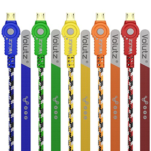 Micro USB Cable (Pack of 5) Volutz Cableogy Series (10ft / 3m) Nylon Braided, Gold-Plated & Turbo-Fast (Micro-USB to USB) for HTC, Samsung, Nokia, LG, Motorola, Google, MP3, Bluetooth devices and More