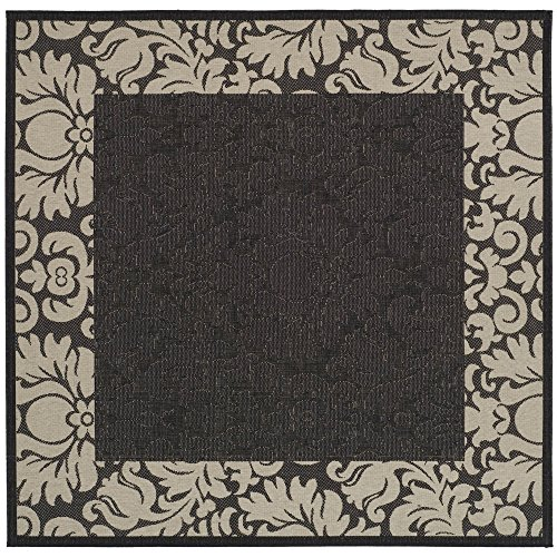 Safavieh Courtyard Collection CY2727-3908 Black and Sand Indoor/ Outdoor Square Area Rug, 6 feet 7 inches Square (6'7 Square)