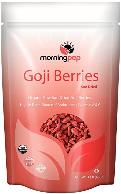 Morning Pep 1 LB Organic GOJI BERRIES Raw Sundried 100% Natural USDA Certified Organic by NFC, NON GMO ( 16 OZ ) Nice Resealable Stand Up Pouch Bag (packaging may vary)