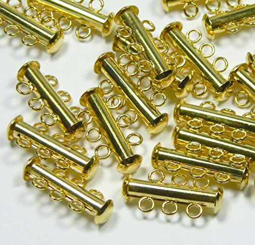 10 Pack Multi 3 Strand Slide Lock Clasps, Gold Plated Brass