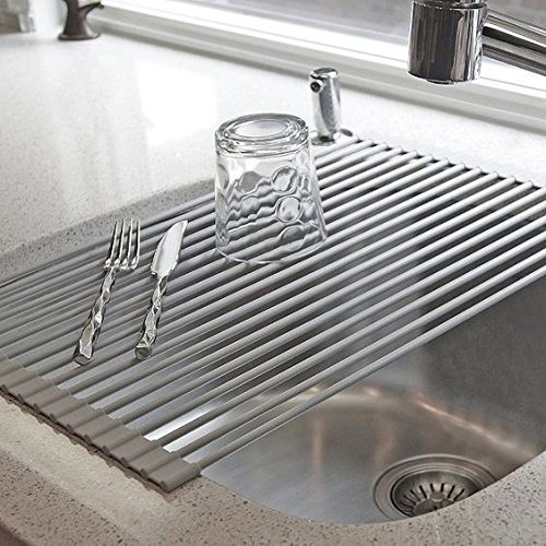 HUJI Over The Sink Stainless Steel and Roll Up Drying Rack Drainer (1, GREY)