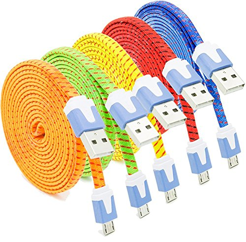Micro USB Cable, Eversame 5-Pack 6Ft 2M Nylon Braided Micro USB 2.0 Sync Charging Cord for Samsung Galaxy Note 5/S6 Edge Plus, HTC One M8, LG G3, Android Phones and more-Red Yellow Blue Green Orange
