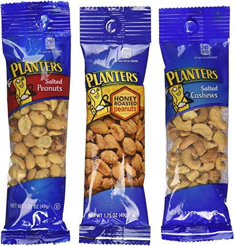 Planters Variety Pack, 24 Packs (12-1.75 oz salted peanuts, 6-1.75 oz honey roasted peanuts, 6-1.5 oz salted cashews)