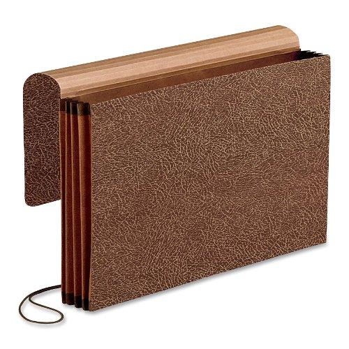 Pendaflex Premium Reinforced 5 inch Expansion Wallets, Legal Size, Red Fiber,  5 per Box (60575)