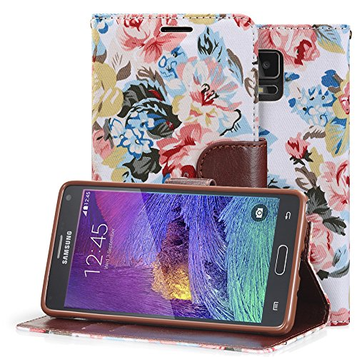 Fosmon CADDY-FLORA Leather Folio Wallet Stand Case for Samsung Galaxy Note 4 [Fits All Carriers] (White)