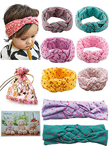 BS® 6pcs of Highest Quality Cute Baby Girl's Headbands Cotton Turban Knotted Headband Head Wrap Newborn Knotted Elastic Hair Bands Headwear Set with Dot, For Head circumference: 42-50cm/16.54-19.69