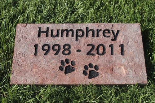 Sandblast Engraved Red Stone Pet Memorial Headstone Grave Marker Dog Cat ndp 4x8