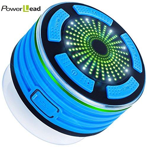 PowerLead BP013 IP67 Waterproof/Underwater Shockproof Wireless Bluetooth Stereo Speaker Built-in Mic for Speakerphone with FM Radio,Mp3 Player,and Multiple Color LED Light Functions