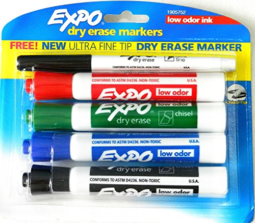 Expo Dry Erase Markers Low Odor Ink, Assorted, 4 Count (1905752)