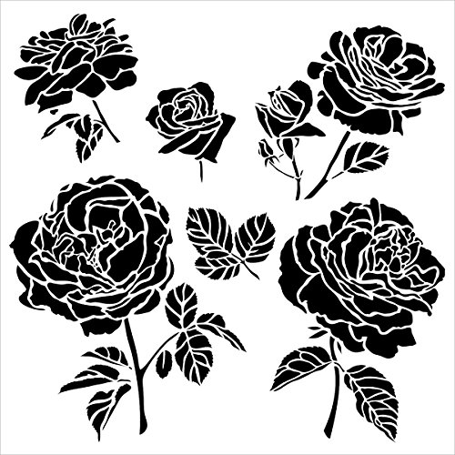 Crafters Workshop Cabbage Roses Crafter's Workshop Template, 12 by 12