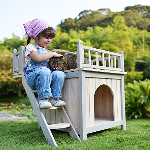 Petsfit 29LX20WX26H Cat House with Rooftop,Dog House,Wooden Indoor Dog House Cat Condo