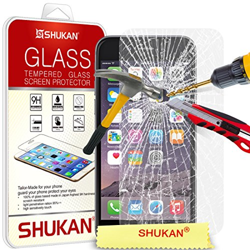 Apple iPhone 6 (4.7 Inch) Tempered Glass Crystal Clear LCD Screen Protector Guard & Polishing Cloth GSVL37 BY SHUKAN®, (iPhone 6)
