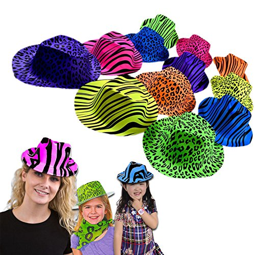 Dazzling Toys Neon Colored Animal Print Gangster Hats 12 Pack
