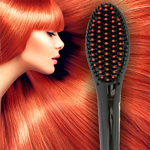 [PATENTED] Professional Ionic Best Hair Brush Straightener for Styling By Azorro, Detangling, Straightening, Frizz-Free Hair Care With Scalp Massage - LCD Display Ceramic Flat Iron Paddle Brush