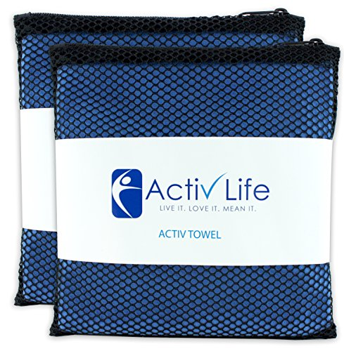2 PACK Microsuede Gym Towels for Men & Women Athletes, Camping & Travel. Soft Absorbent Fast Drying Lightweight Compact Microfiber Hand & Face Towel with Mesh Storage Bag & Hang Loop for Quick Dry.