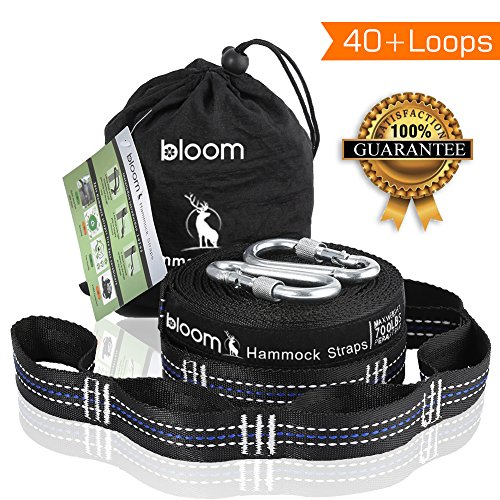 Hammock Straps(Set of 2) + Free 2 Carabiners+Tree Friendly-Fast & Easy Setup Heavy Duty Adjustable Loops