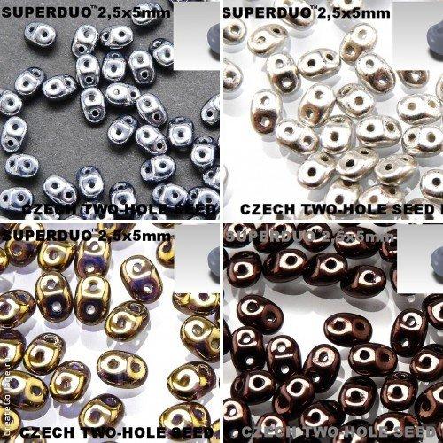 4x20gr, 4 colors Unique Set SRK1002, SuperDuo 2,5x5mm Czech Glass Seed Beads, Colors: Jet Hematite, Jet Silver Paste, Crystal Gold Bronze, Jet Bronze Luster (RK1036,RK1069,RK1082,RK1115)
