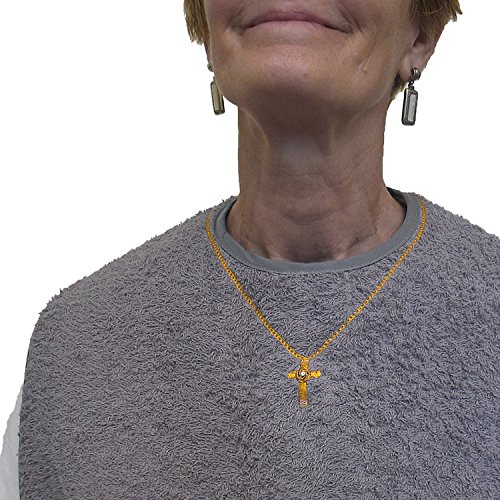 Women's Waterproof Adult Bib with Embroidered Cross Necklace, Reusable, Washable | Classy Pal (Gray Bib x Gold Cross Necklace)