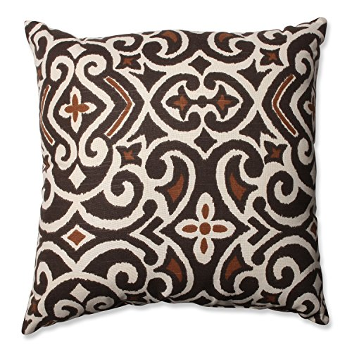 Pillow Perfect Brown/Beige Damask 18-Inch Throw Pillow