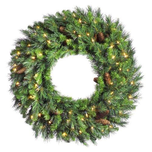 36 Pre-Lit Cheyenne Pine Artificial Christmas Wreath - Clear Dura Lights