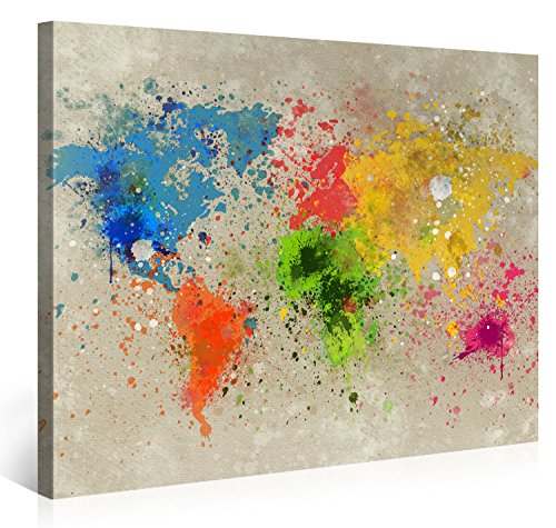 Large Canvas Print Wall Art - World Map Watercolour Explosion - 100x75cm - Modern Art XXL Giclee canvas print, Wall Art canvas picture - Canvas print stretched on a frame - XXL Canvas images in High Definition