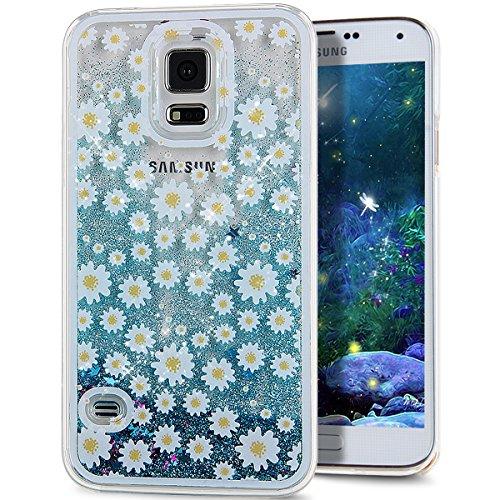 Galaxy S5 Case, ikasus(TM) Galaxy S5 [Liquid Bling] Case, Creative Design [Flowing Liquid] Floating Luxury Bling Glitter Sparkle Stars Hard Case for Samsung Galaxy S5 SV I9600,Blue Daisy Flower
