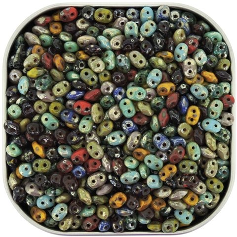 Czech Superduo Two-hole Crystal Seed Beads Super Duo 5 x 2.5mm Picasso Medley Mix Approx 24 Grams Tube
