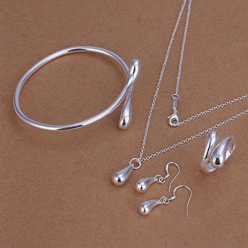 Fashion Jewelry Women 925 Silver Water Drop 4 Ltem Necklace Set