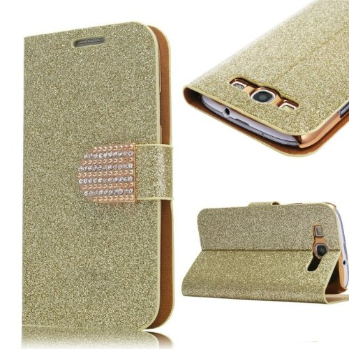 S3 Case,Galaxy S3 Case, Welity Hot Golden Color Bling Wallet Luxury Leather Magnetic Flip Cover Case for Samsung Galaxy S3 i9300 and one gift