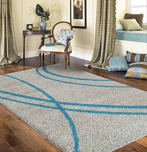 Cozy Contemporary Stripe Indoor Shag Area Rug