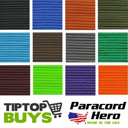 550 Paracord Solid Colors Paracord Hero Brand Free Expedited Shipping When 2 or More 100' Hanks Are Purchased