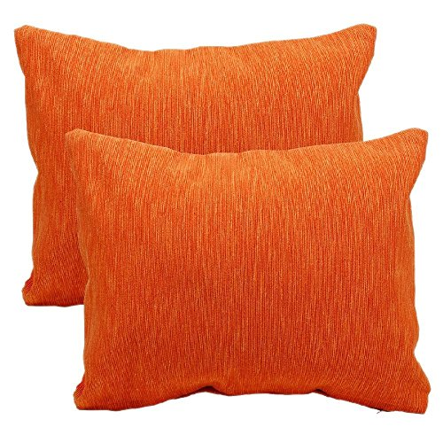 Throw Pillow Cushion Covers Cases for Sofa - Ribbed Cotton Bedding Accessories Set of 2 Orange