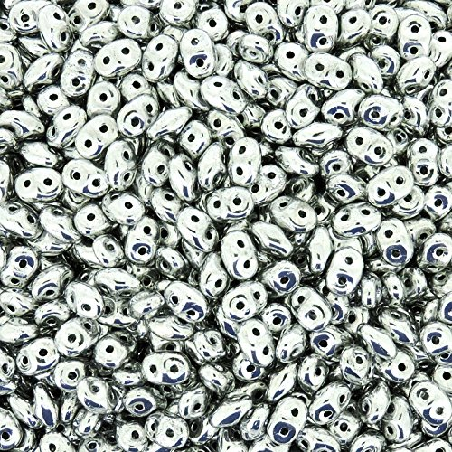 Czech Superduos 2-hole Crystal Super Duo Seed Beads 5.5x2.5mm Silver - Full Labrador 24 Grams